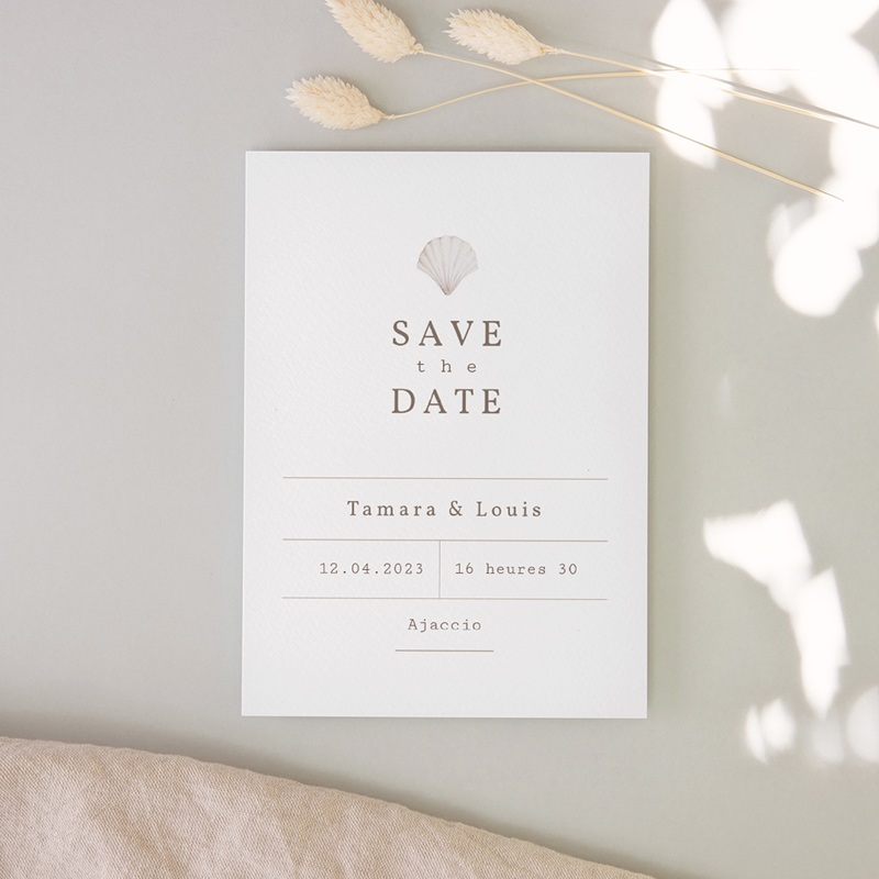 Save-the-date mariage Coquillages & coraux Aquarelle, Jour J