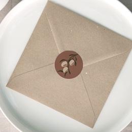 Etiquette enveloppes mariage Citrons Terracotta, 4,5 cm