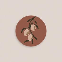 Etiquette enveloppes mariage Citrons Terracotta, 4,5 cm pas cher