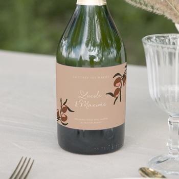 Etiquette bouteille mariage Citrons Terracotta, 13 x 8 cm