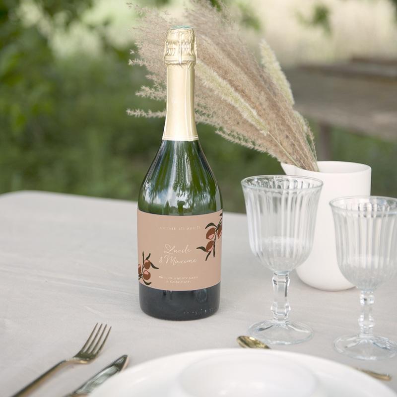 Etiquette bouteille mariage Citrons Terracotta, 13 x 8 cm gratuit