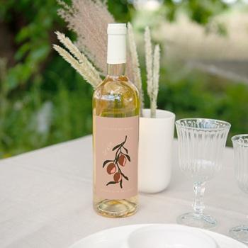 Etiquette bouteille mariage Citrons Terracotta, 8 x 13 cm