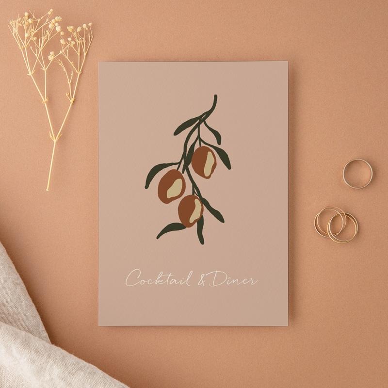 Carte d'invitation mariage Citrons Terracotta, Cocktail & Diner