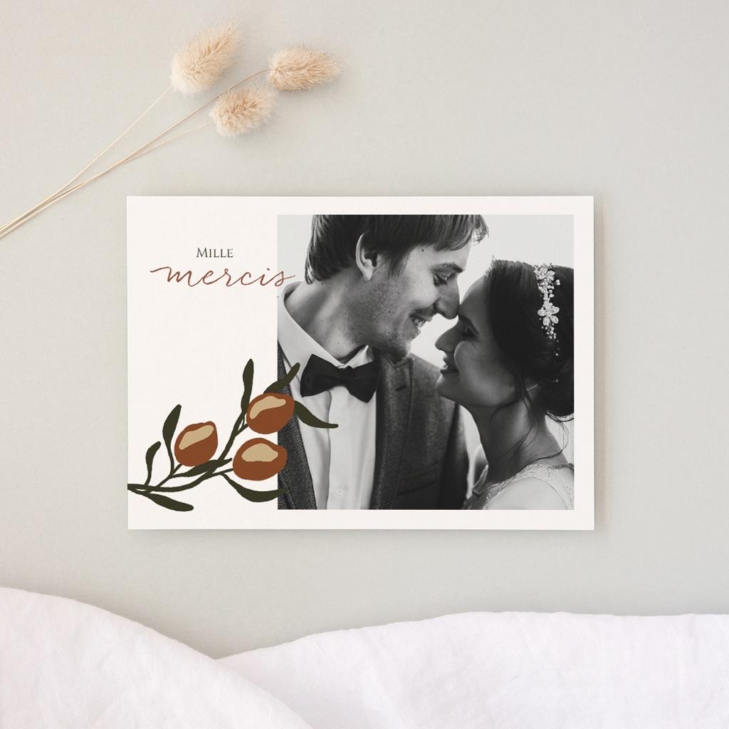 Carte de remerciement mariage Citrons Terracotta, Photo, 14 x 10 cm