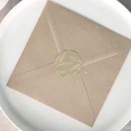 Etiquette enveloppes mariage Brin romantique, Beige doré, 4,5 cm