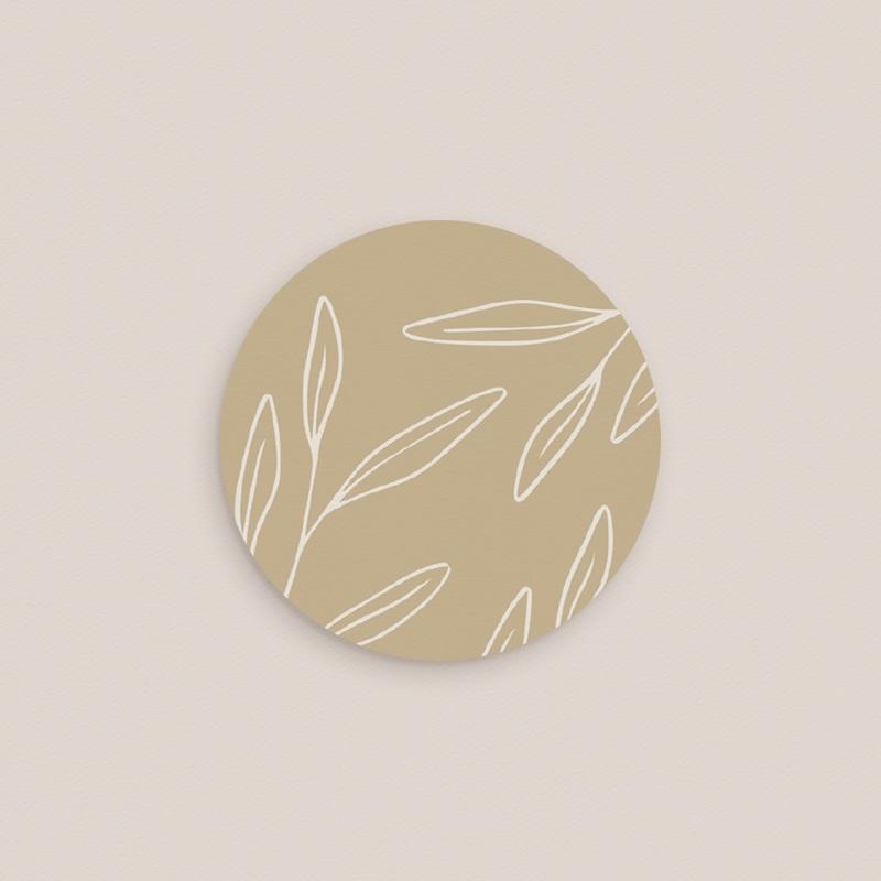 Etiquette enveloppes mariage Brin romantique, Beige doré, 4,5 cm pas cher