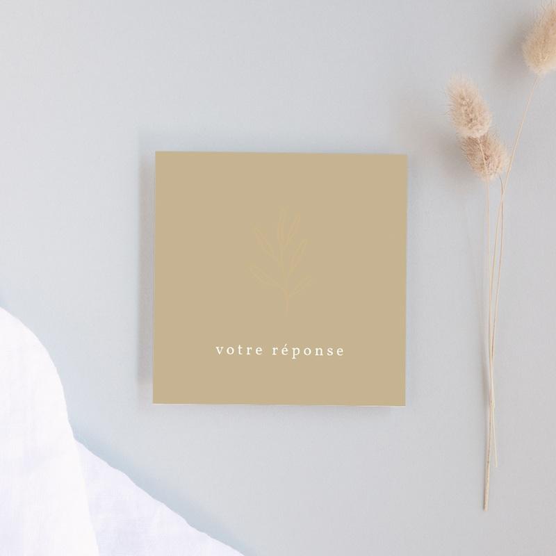 Carton réponse mariage Brin romantique, Beige doré, Rsvp