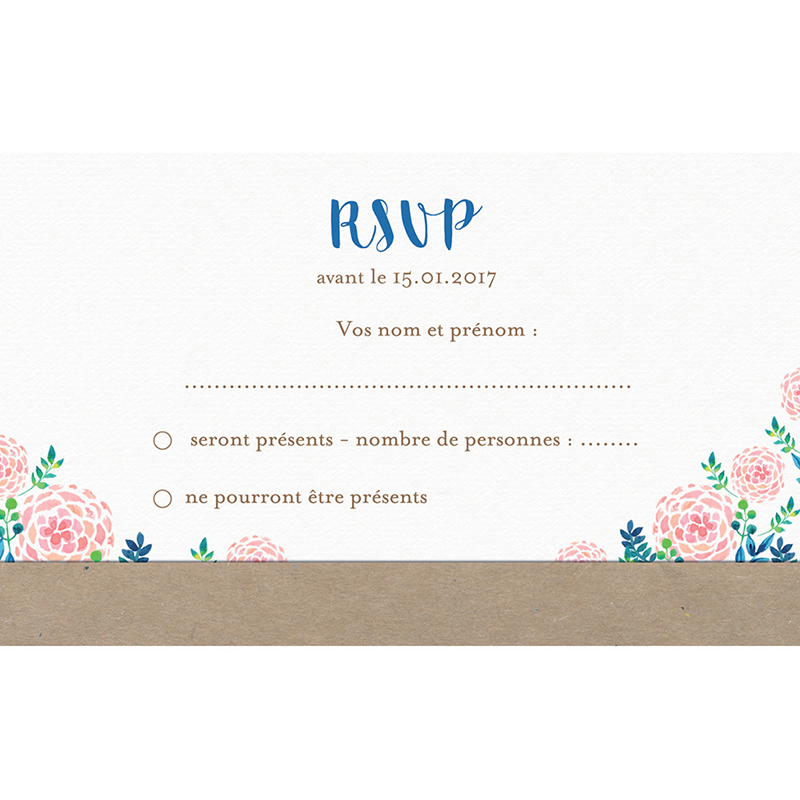 Carton réponse mariage Romantic Folk pas cher