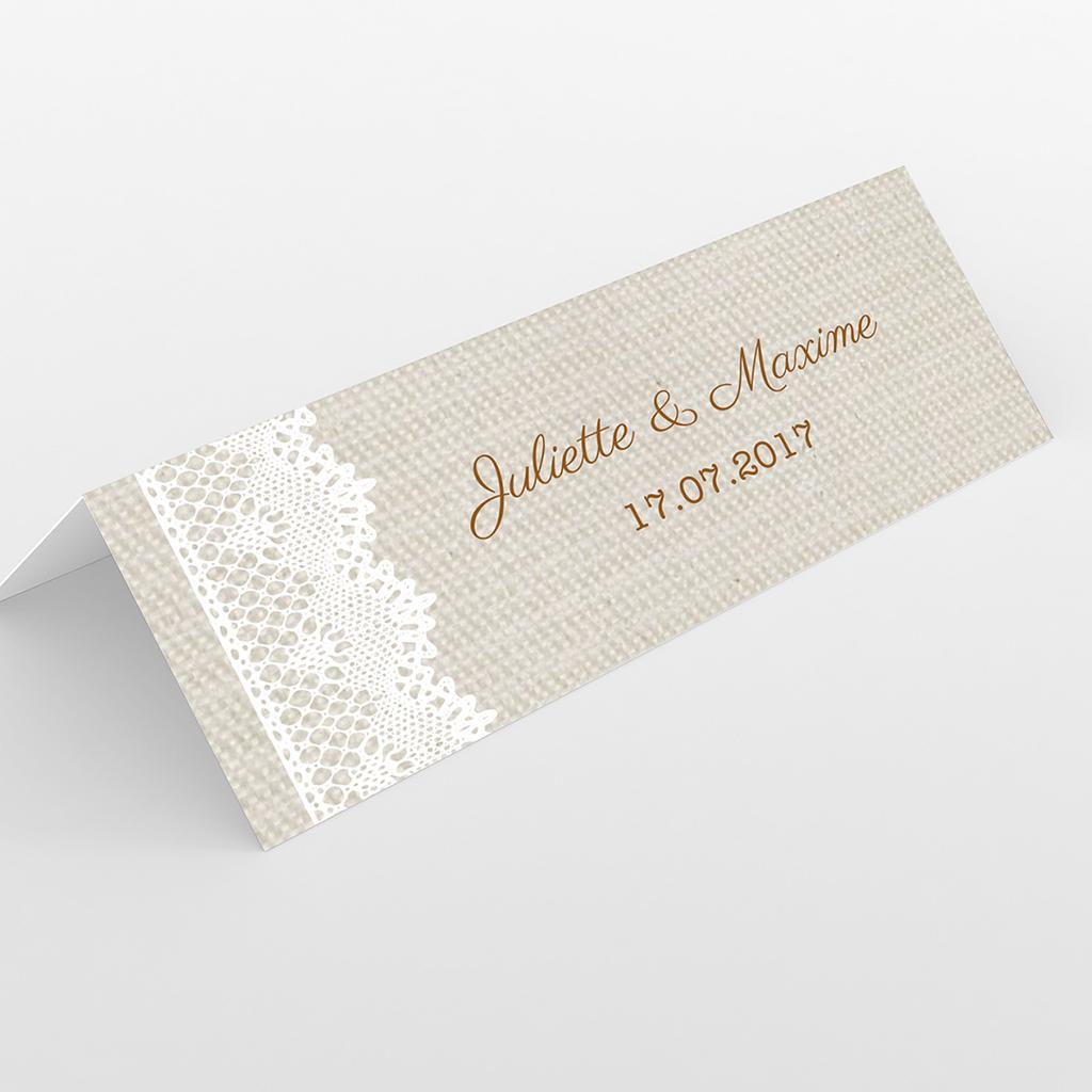 Marque-place mariage Dentelle Vintage