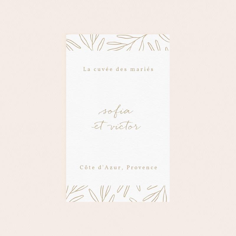 Etiquette bouteille mariage Brin romantique, Beige doré, pas cher