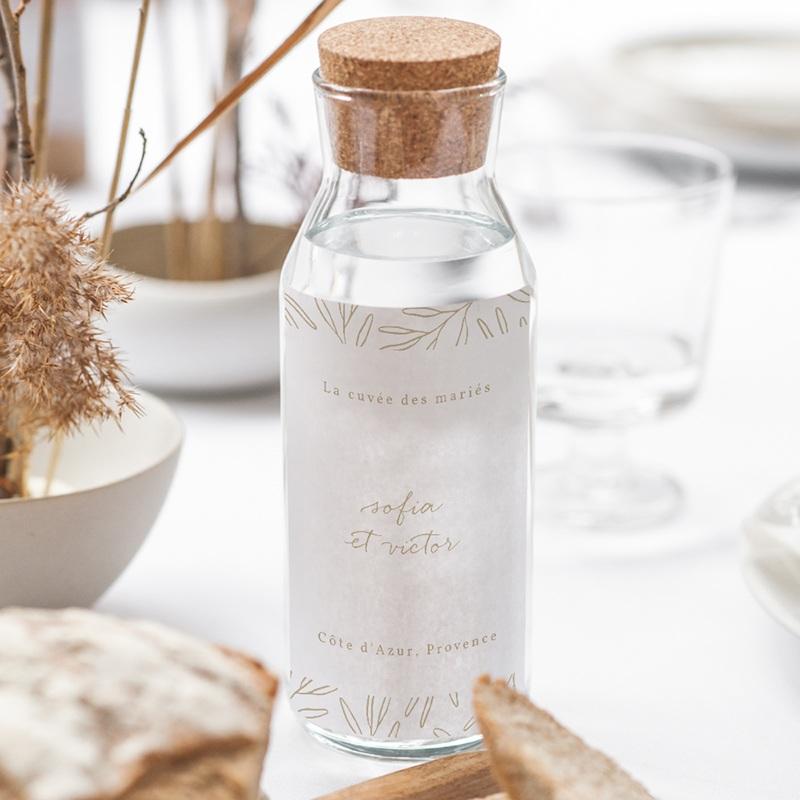 Etiquette bouteille mariage Brin romantique, Beige doré, gratuit