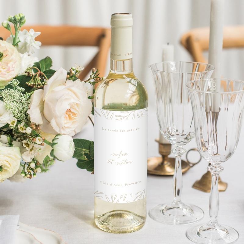 Etiquette bouteille mariage Brin romantique, Beige doré,