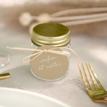 Etiquettes cadeaux mariage Brin romantique, Beige doré, Souvenir