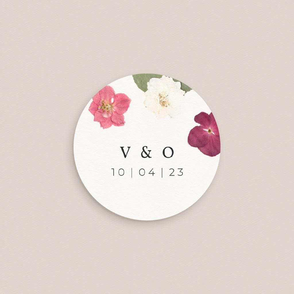 Etiquette enveloppes mariage Romance florale, sticker pas cher