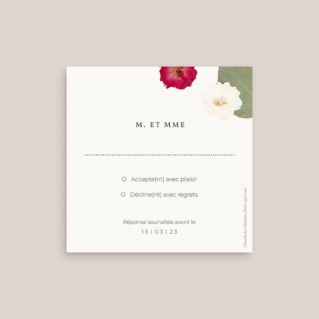 Carton réponse mariage Romance florale, Rsvp pas cher