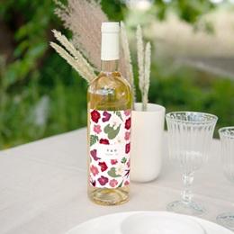 Etiquette bouteille mariage Romance Florale, Vin ou Eau, 8 x 13 cm