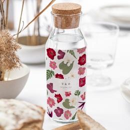 Etiquette bouteille mariage Romance Florale, Vin ou Eau, 8 x 13 cm gratuit