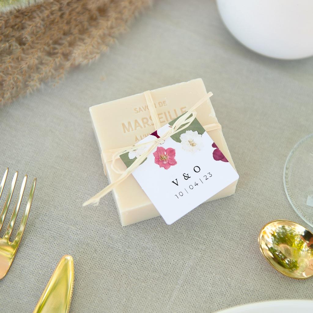 Etiquettes cadeaux mariage Romance Florale, 4,5 x 4,5 cm pas cher