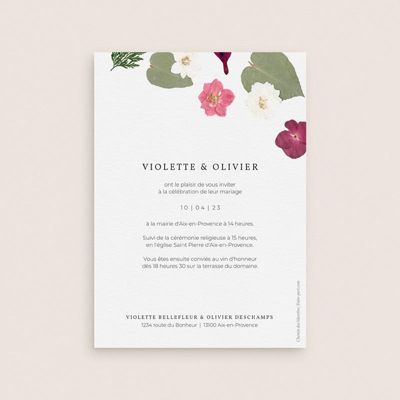 Faire-part de mariage Romance Florale, 12 x 16,7 cm