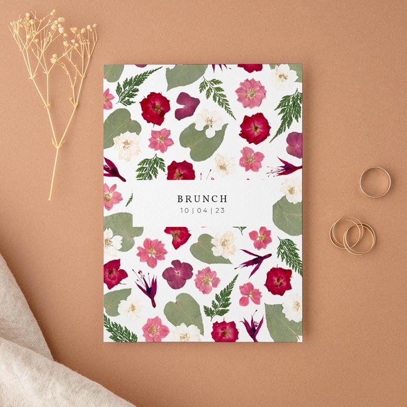 Carte invitation Brunch Romance Florale, Brunch,10 x 14 cm