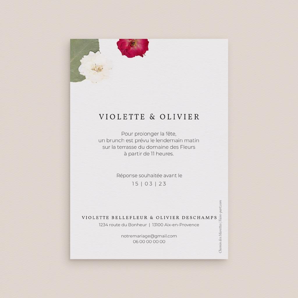 Carte invitation Brunch Romance Florale, Brunch,10 x 14 cm pas cher