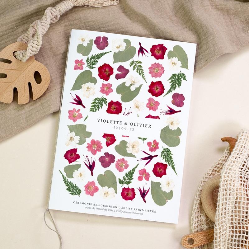 Livret de messe mariage Romance Florale, couverture, 15 x 22 cm