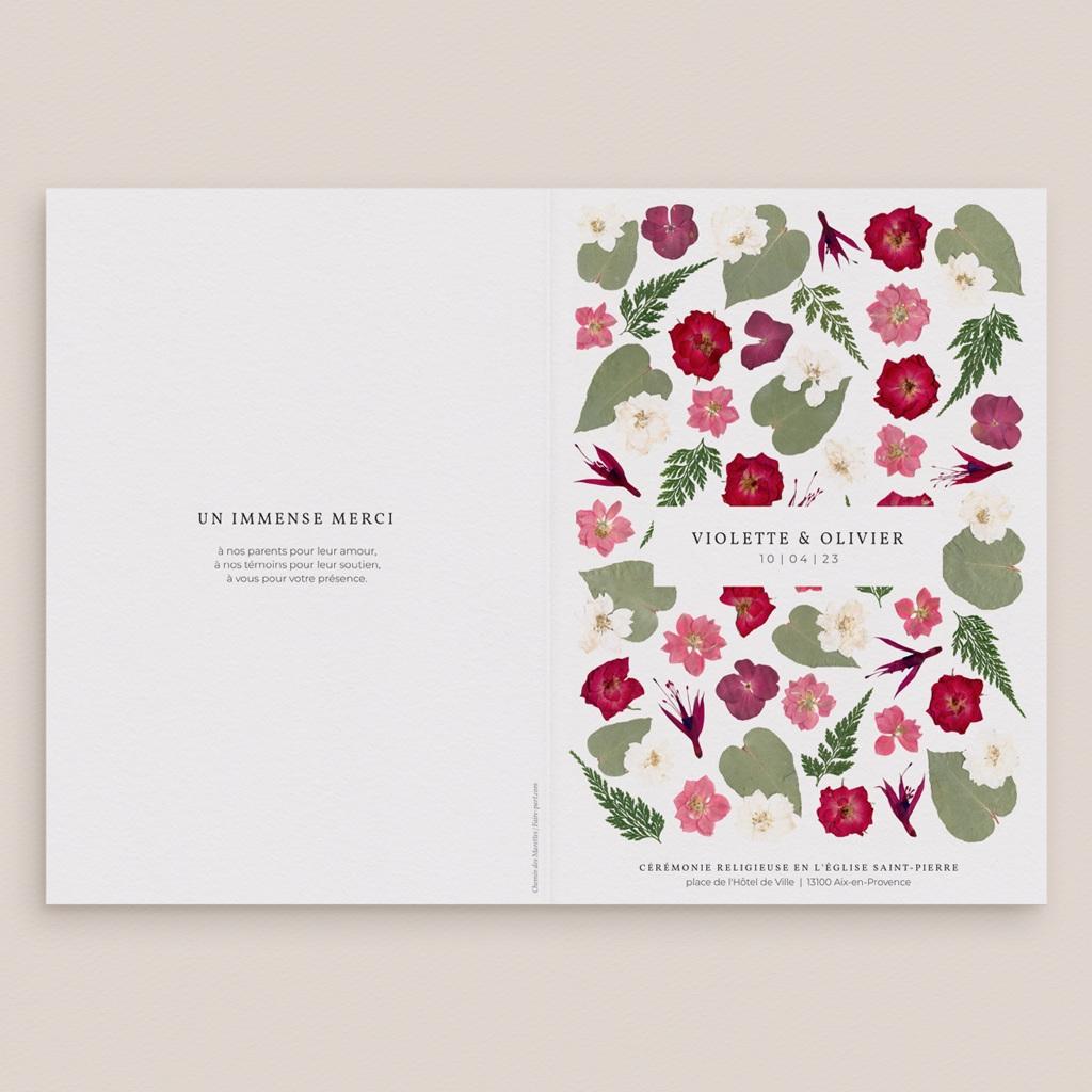 Livret de messe mariage Romance Florale, couverture, 15 x 22 cm gratuit
