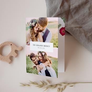 Carte de remerciement mariage Romance Florale, 2 volets, 10,5 x 15 cm