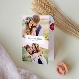 Carte de remerciement mariage Romance Florale, 2 volets, 10,5 x 15 cm pas cher