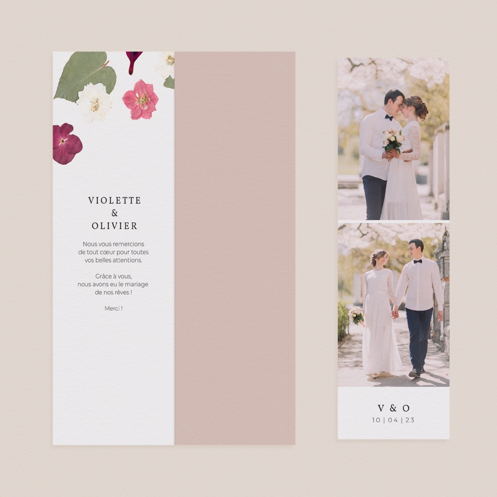 Carte de remerciement mariage Romance Florale, 2 en 1 pas cher