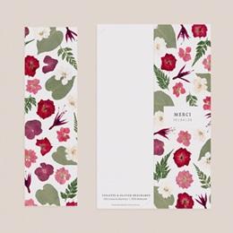 Carte de remerciement mariage Romance Florale, 2 en 1