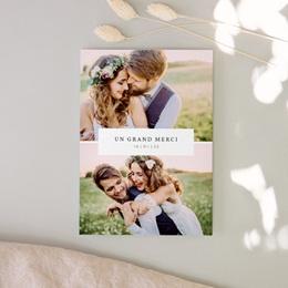 Carte de remerciement mariage Romance Florale, deux photos, 12 x 16,7 cm