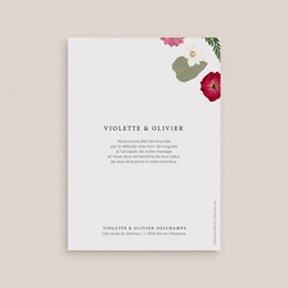 Carte de remerciement mariage Romance Florale, deux photos, 12 x 16,7 cm pas cher