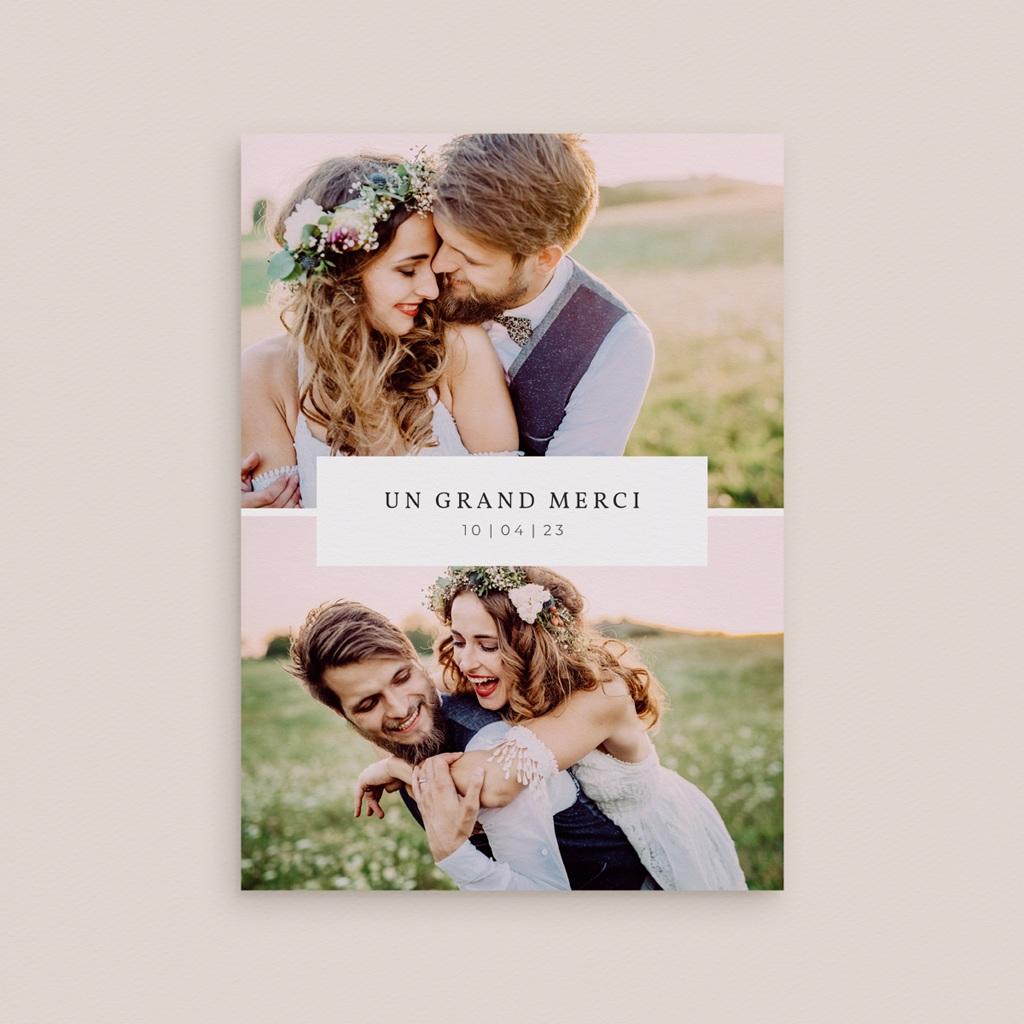 Carte de remerciement mariage Romance Florale, deux photos, 12 x 16,7 cm gratuit