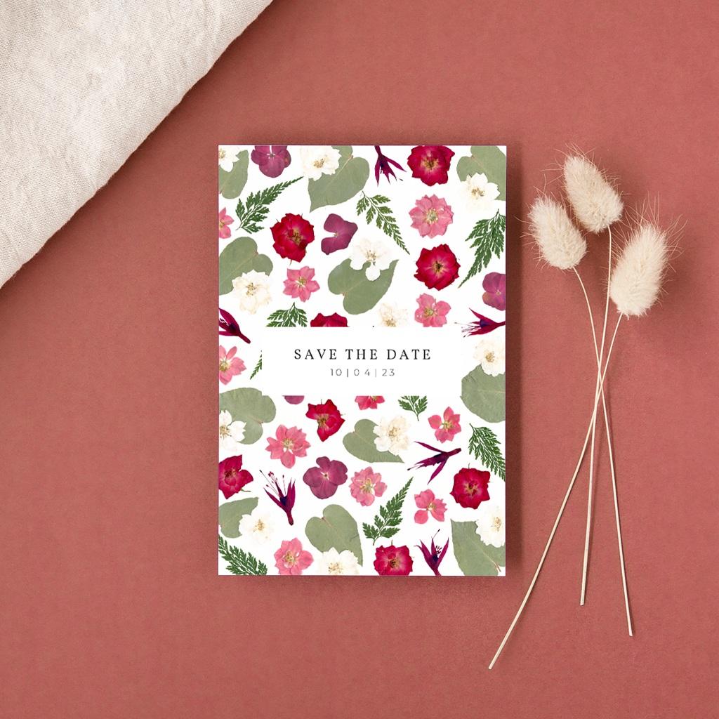 Save-the-date mariage Romance Florale, Jour J à réserver gratuit