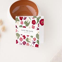 Save-the-date mariage Romance Florale, 2 volets 9,5 x 9,5 cm
