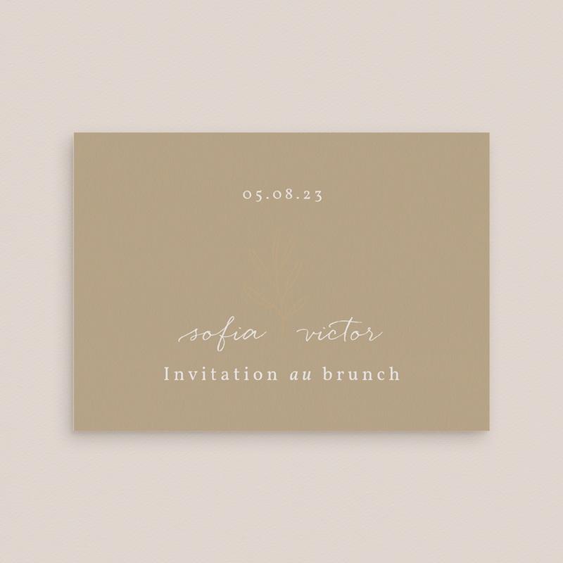 Carte invitation Brunch Brin romantique, Beige doré, Brunch gratuit