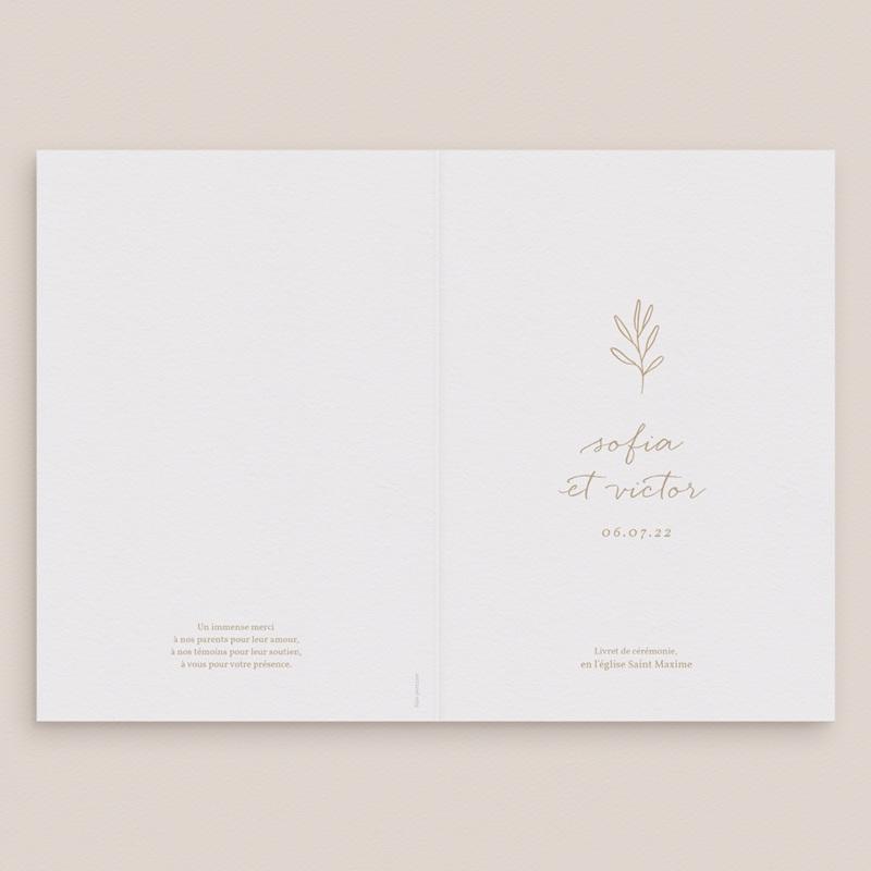 Livret de messe mariage Brin romantique, Beige doré, Couverture Blanche gratuit
