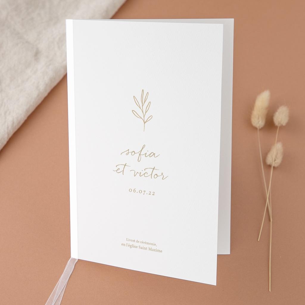 Livret de messe mariage Brin romantique, Beige doré, Couverture Blanche