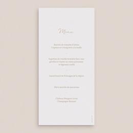 Menu mariage Brin romantique, Beige doré, 10 x 21 cm pas cher
