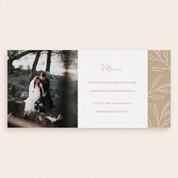 Carte de remerciement mariage Brin romantique, Beige doré, Pli-décalé pas cher