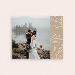 Carte de remerciement mariage Brin romantique, Beige doré, Pli-décalé gratuit