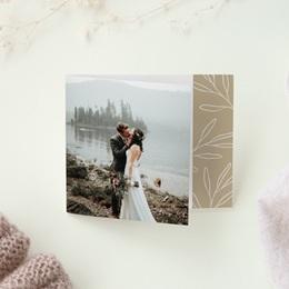 Carte de remerciement mariage Brin romantique, Beige doré, Pli-décalé