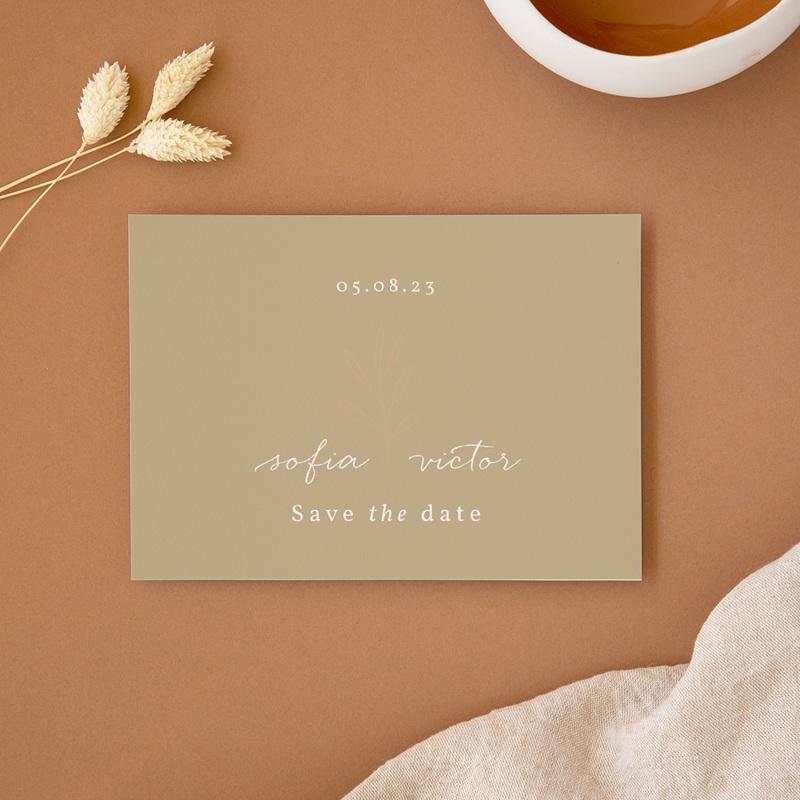 Save-the-date mariage Brin romantique, Beige doré, D-Day