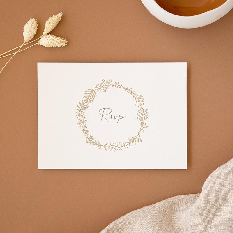 Carton réponse mariage Diadème Doré, Rsvp, 14 x 10 cm