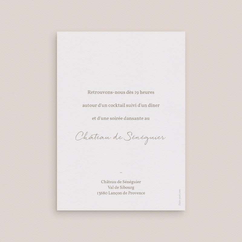 Carte d'invitation mariage Diadème Doré, invitation 10 x 14 cm pas cher