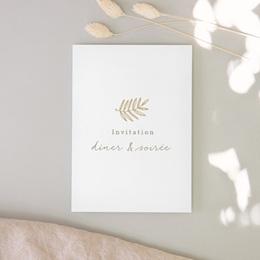 Carte d'invitation mariage Diadème Doré, invitation 10 x 14 cm