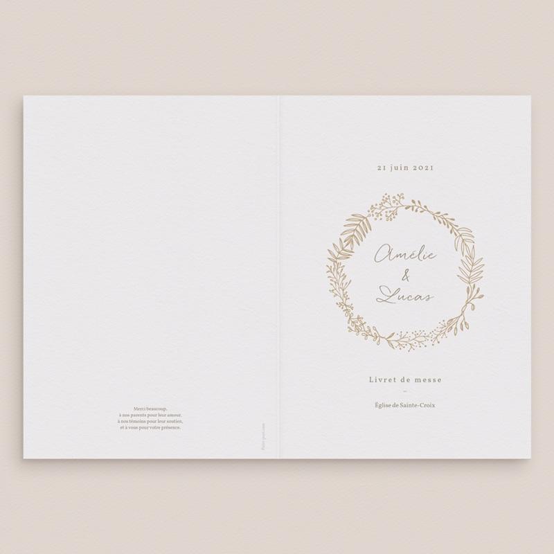 Livret de messe mariage Diadème Doré, Couverture gratuit