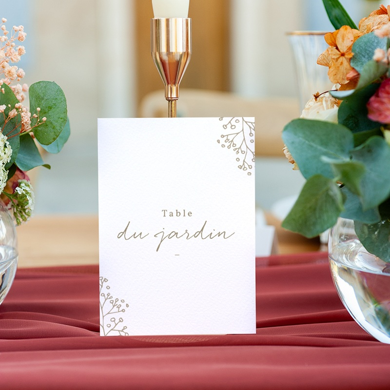 Marque table mariage Diadème Doré, lot de 3 repères gratuit