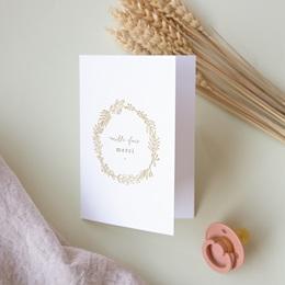 Carte de remerciement mariage Diadème Doré, 10,5 x 15 cm pas cher